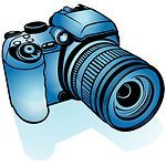 38756-Clipart-Illustration-Of-A-Blue-Digital-Camera